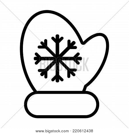 Mittens icon vector line illustration. mitten with snowflake element. Christmas symbol. Outline flat illustration.