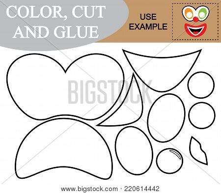 Paint, cut and paste the image of face of clown. Game for children.