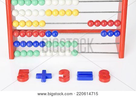 close-up of an addition with wooden abacus