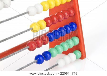 detailed view of a red abacus with multicolored balls