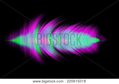 3D illuminated abstract digital wave of glowing particles and wireframe. Futuristic illustration 5.1 sound. Sound wave compressions. Technology concept. Abstract background.