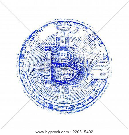 Macro. A blue print of bitcoin. Printing on documents about the crypto currency for designers. Square frame.