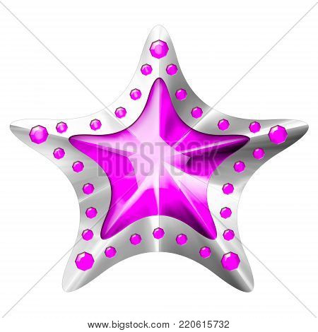 Silver Star award for mobile game isolated on white Background. Star. Star Award. Isolated on white and clipping path 3D illustration.
