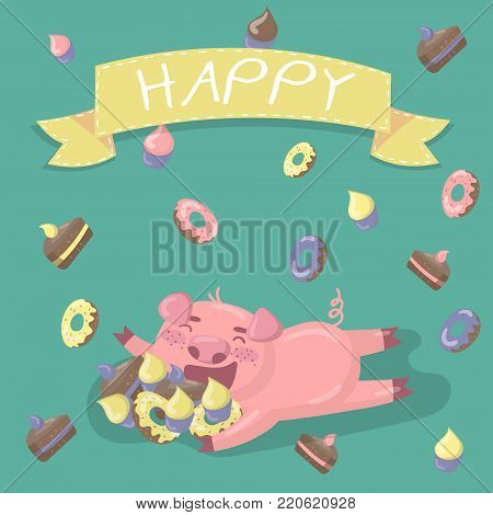 Funny little pig character hugiing a lot of sweets. Happy pig in cartoon style, vector illustration, colorful design element for poster or banner.