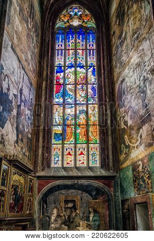KUTNA HORA, CZECH REPUBLIC - JULY 3:  Old stained glass and wall paintings in St. Barbara church in Kutna Hora,  on July 3, 2017 in Kutna Hora