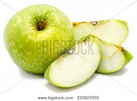 One whole apple Granny Smith and three slices isolated on white background