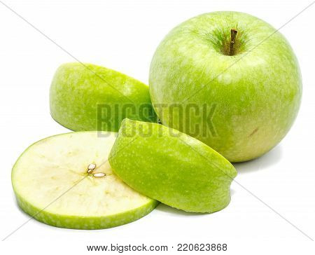 Granny Smith, one whole apple, one circle and two slices, isolated on white background poster