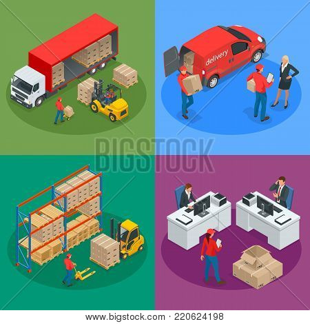 Isometric Logistics and Delivery concept. Delivery home and office. City logistics. Warehouse, truck, forklift, courier and delivery man. Vector illustration