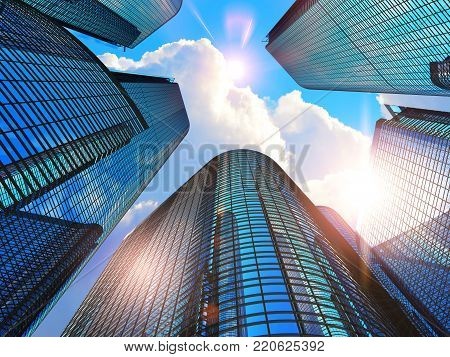 3D render illustration of the glass reflective office buildings skyscrapers against blue sky with clouds and sun light