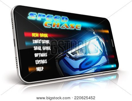 3D render illustration of modern black glossy touchscreen smartphone with video game isolated on white background
