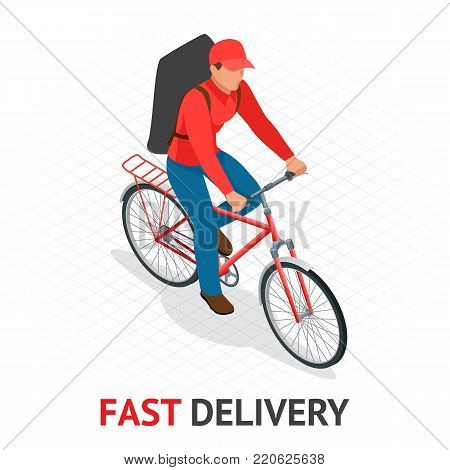 Isomeric fast delivery concept. Delivery man or cyclist in red uniform from delivery company speeding on a bike through city streets with a hot food delivery from restaurants to homes. Vector