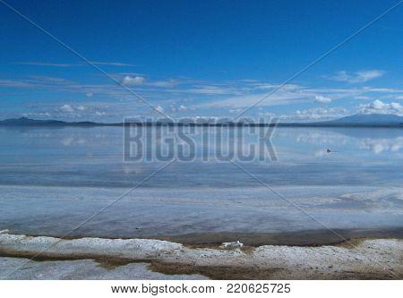 Uyuni Salar a salt lake in the Uyuni region in the south of Bolivia.