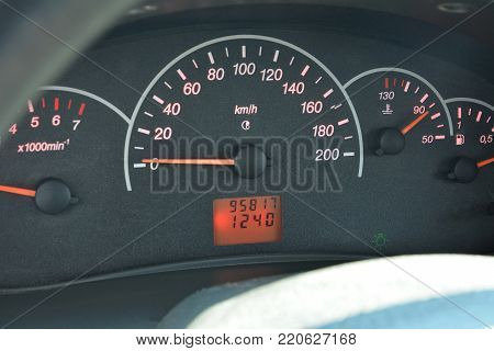 The speedometer of the car. The instrument panel of the car. The real mileage of the car.