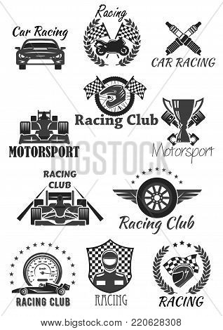 Racing club and motorsport isolated symbol set. Racing car, motorcycle, champion trophy cup, race flag, wheel, racer helmet, piston, speedometer, spark plug with heraldic wreath, star and wing