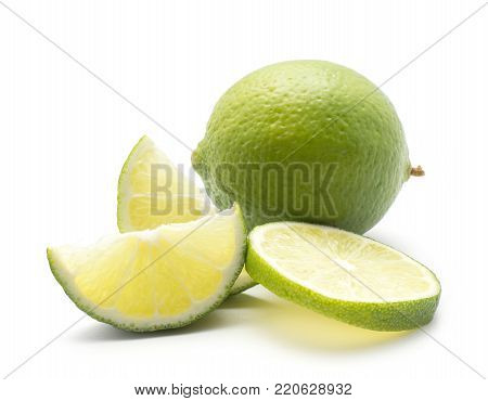 Limes set isolated on white background one whole one sliced ring and two slices