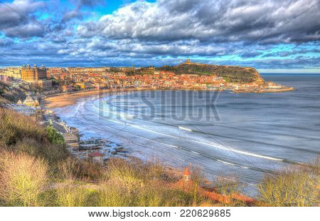 Scarborough North Yorkshire England uk seaside town and tourist destination in colourful hdr
