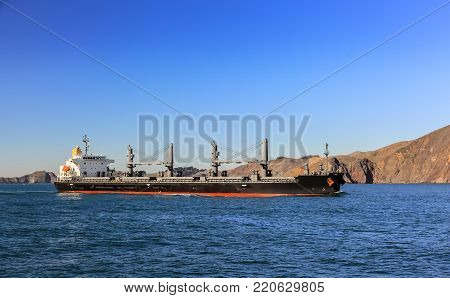 Cargo ship sailing to port on sunny day