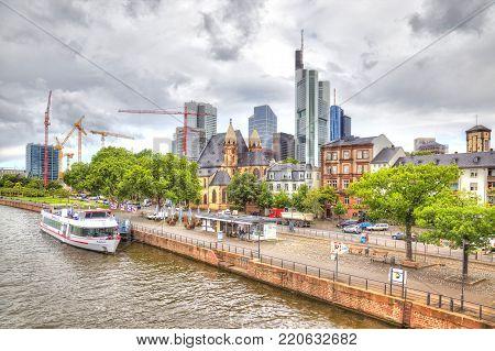 FRANKFURT AM MAIN, GERMANY - May 07,2014: City landscape. Main river embankment
