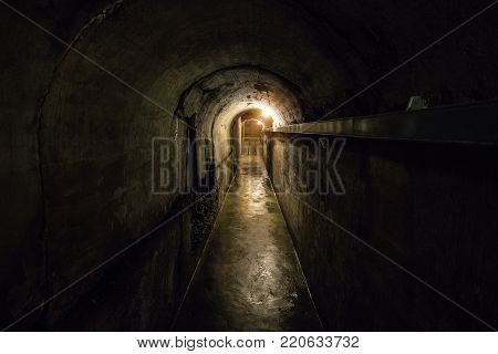 Tunnel of old underground Soviet bunker under military artillery fortification, Sevastopol, Crimea
