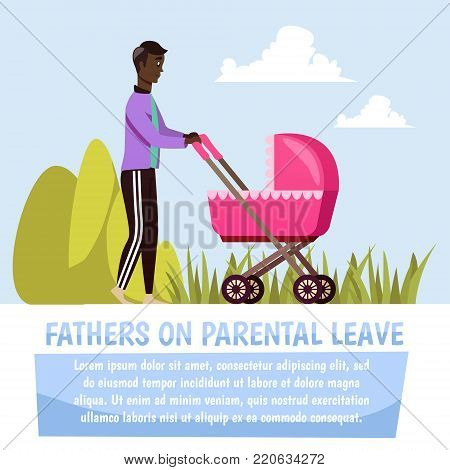 Father walking with pink stroller during parental leave orthogonal composition on blue sky background vector illustration