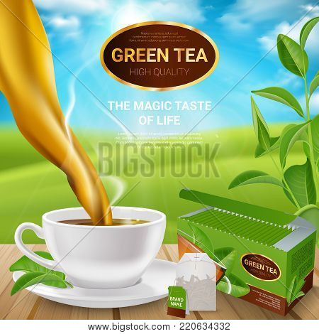 Poster with realistic tea leaves and cup with drink, packaging and teabag on wooden table vector illustration