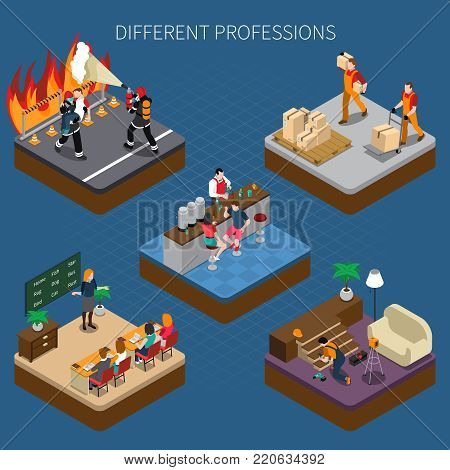 Professions uniform isometric people composition with views of occupational situations of different people with text caption vector illustration