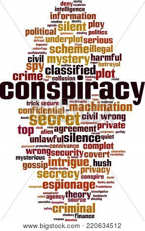 Conspiracy word cloud concept. Vector illustration on white