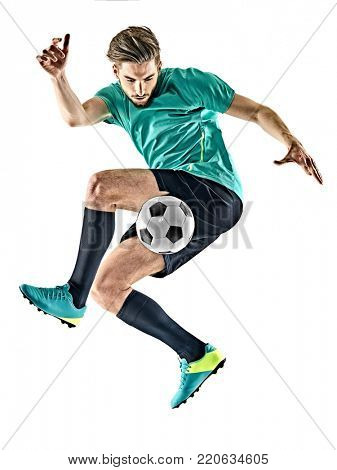 one caucasian soccer player man jungling isolated on white background