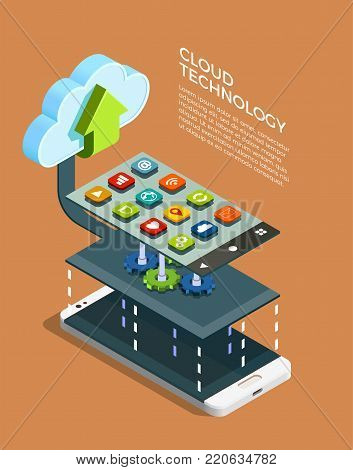 Cloud computing technology network configuration of tablet and smartphones with apps symbols isometric infographic elements poster vector illustration