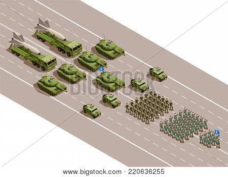 Military parade isometric composition with regiments and army technique blocks of armored vehicles and ballistic missiles vector illustration poster