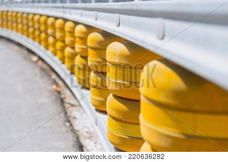 Rolling Guardrail System road curve safety protection with rolling barrier for absorb impact and steer vehicle back into the traffic