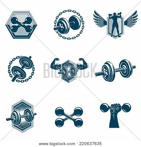 Vector power lifting theme illustrations collection made using dumbbells and disc weights sport equipment. Bodybuilder body silhouette.