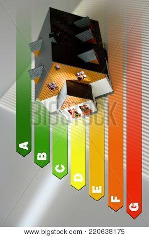 Energy efficiency label for house / heating and money savings - model of a house