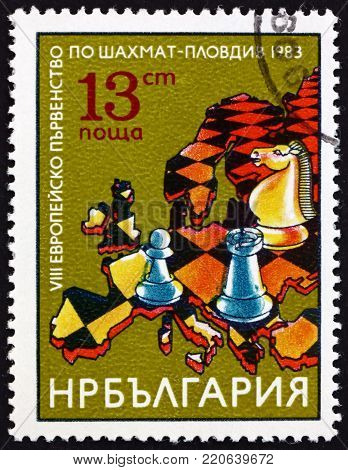 BULGARIA - CIRCA 1983: a stamp printed in Bulgaria shows chess pieces, map of Europe, 8th European championships, Plovdiv, circa 1983
