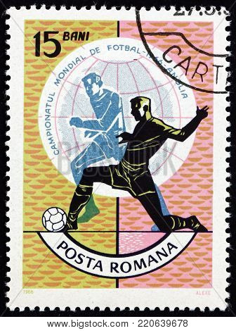 ROMANIA - CIRCA 1966: a stamp printed in Romania shows scene of soccer play, World Cup Soccer Championship, Wembley, England, circa 1966