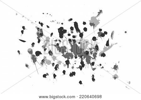 Blots for design in a vector on a transparent background. Paint blobs crashed down on the sheet of paper design.
