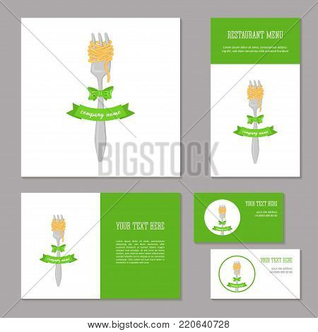 Elements of corporate identity for a restaurant, cafe. Corporate branding. Fork spaghetti , bow and ribbon. Menu, booklet, business card and banner.