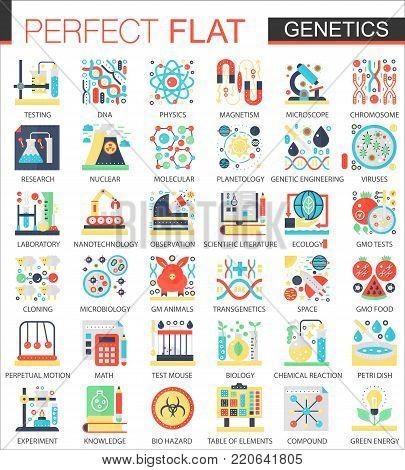 Biochemistry, biology genetics vector complex flat icon concept symbols for web infographic design poster