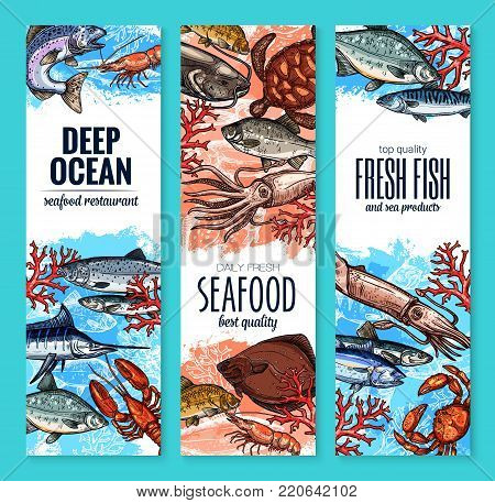 Seafood and fish product banners sea food market or restaurant. Vector sketch fresh fisherman catch marlin, bream or anchovy and octopus, trout or flounder and shrimp, squid or turtle and lobster crab