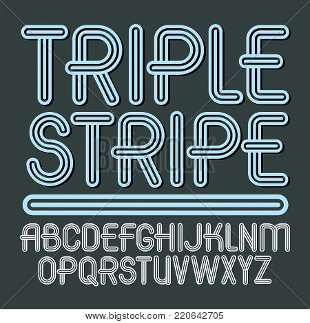 Set of trendy vector capital alphabet letters isolated. Retro type font, script from a to z can be used for logo creation. Made with geometric parallel triple lines.