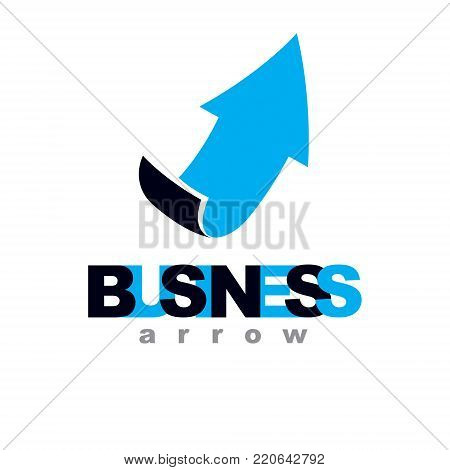 Vector rising arrow. Corporate development logo isolated on  white background. Company growth concept.
