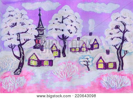 Hand painted Christmas illustration, winter landscape with houses and trees in pink and purple colours, used watercolour, gouache and acrylic.