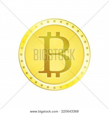 Golden bitcoin coin icon in realistic style. Money or finance symbol. Gold Bitcoin money sign isolated on white background. Vector illustration EPS 10.