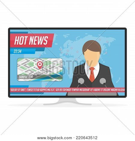 Anchorman on tv broadcast news. Breaking news or Hot news live on the TV screen. Announcer in the studio on world map background. Media on Television concept. Vector illustration in flat style. EPS 10