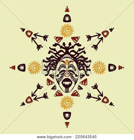 Hand drawn vector pattern with Tribal mask ethnic. Sketch for your design, wallaper, textile, print. African culture. Fabric afro ornament. Coloful batik art. Brown colors on background. Card