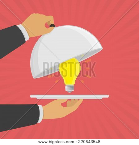 Businessman hands holding silver platter cloche with yellow light bulb. Bright Lamp as symbol for business idea or startup project. Innovation concept. Vector illustration in flat style. EPS 10.