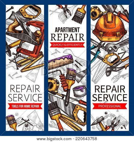 Repair service banners of work tools for house construction or apartment renovation. Handyman safety helmet, carpentry hammer or saw and woodwork grinder, screwdriver and paint brush. Vector sketch