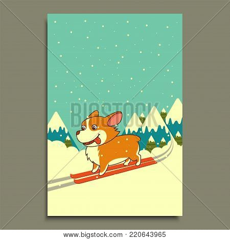 Vector dog skiing on winter mountains background. Welsh corgi dog skiing in mountains. poster, calendar, flyer, greeting postcard, holiday, celebration, party, pet shop shelter pharmacy decoration.