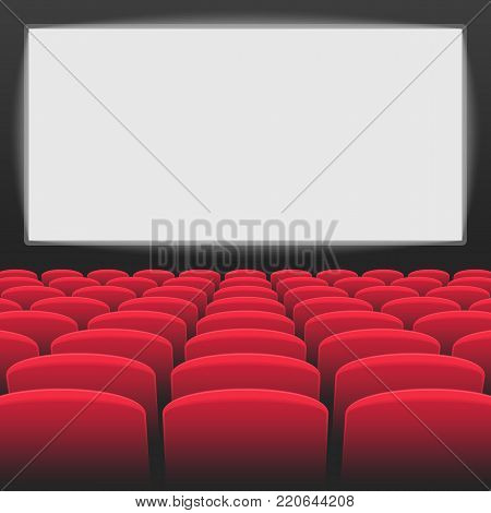 Interior of cinema movie theatre with blank white screen. Rows of red cinema or theater seats on transparent background. Premiere event template. Vector illustration EPS 10.