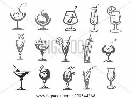 Cocktails and alcohol drinks in glasses vector icons. Isolated symbols of rum, mojito with olive or cherry, iced tea, whiskey and champagne, gin tonic and vodka shot for cocktail party or bar menu